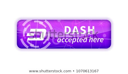 Dash accepted here, bright glossy badge on white Stock photo © evgeny89