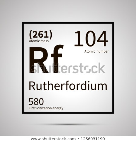 Rutherfordium chemical element with first ionization energy and atomic mass values ,simple black ico Stock photo © evgeny89