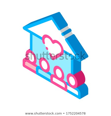 Volunteers Support House isometric icon vector illustration Stock photo © pikepicture
