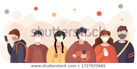 Group of people in medical masks among dangerous flying virus, concept od spreading covid19 Stock photo © robuart