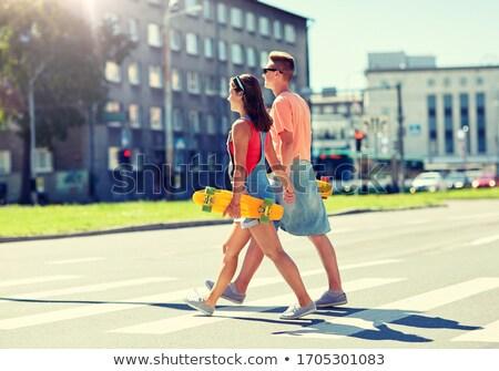 Skateboard ciudad verano vacaciones Foto stock © dolgachov