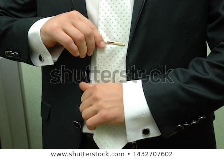 Nyakkendő gemkapocs mandzsettagombok lila doboz ezüst Stock fotó © posterize