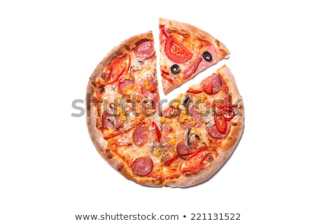 Pizza with one slice removed Isolated on white Stock photo © dacasdo