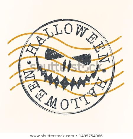 halloween · tök · keret · grunge · étel · terv · levél - stock fotó © kariiika