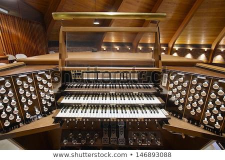 Boru organ klavye eski kilise ahşap Stok fotoğraf © SimpleFoto