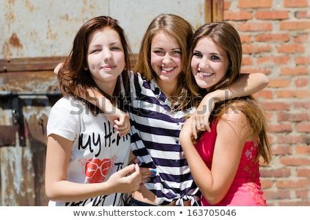 три · подростков · изолированный · белый · Снова · в · школу - Сток-фото © hasloo