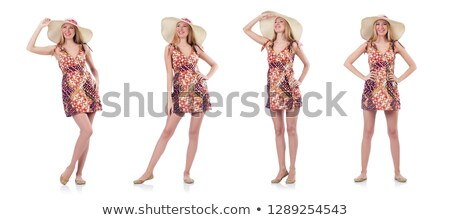 nő · fehér · ruha · sétál · tengerpart · lábak · kék - stock fotó © ariwasabi