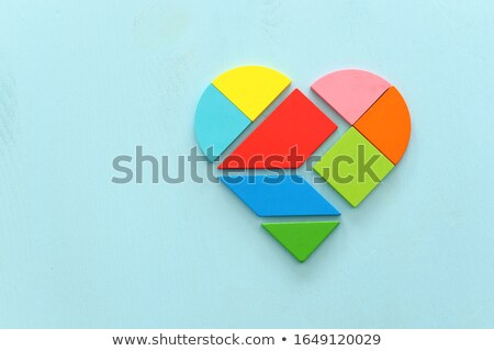 red heart with puzzles as a concept of romantic love stock photo © rufous