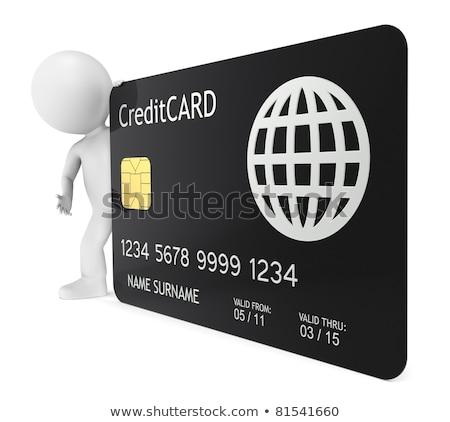Stockfoto: 3D · weinig · menselijke · karakter · creditcard
