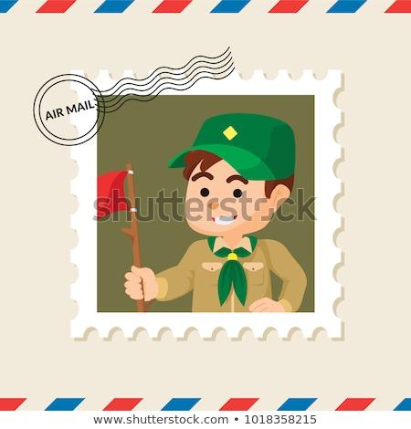 Fiú felderítő postabélyeg Ghána klasszikus nyomtatott Stock fotó © sirylok