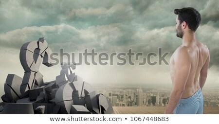 man and pile of broken marble Stock photo © sirylok