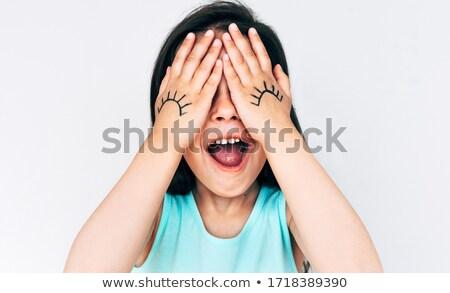 Kinderen spelen kiekeboe handen gezicht groene Stockfoto © photography33