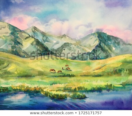 Horse on Alpine Pasture Stock photo © nailiaschwarz