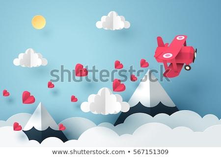 Szeretet origami papír terv felirat kék Stock fotó © djemphoto