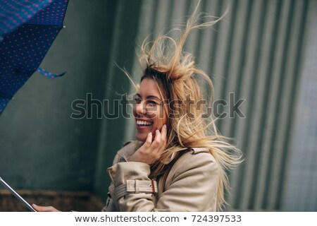 ősz · fiatal · nő · szél · réteges · eps10 · szexi - stock fotó © involvedchannel