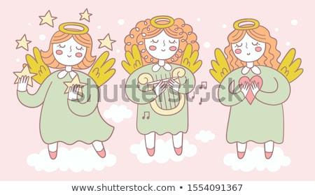 anjo · música · bonitinho · chifre · notas · musicais · natal - foto stock © clairev