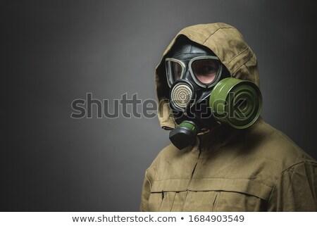 Pessoa máscara de gás capacete branco guerra alto Foto stock © ctacik