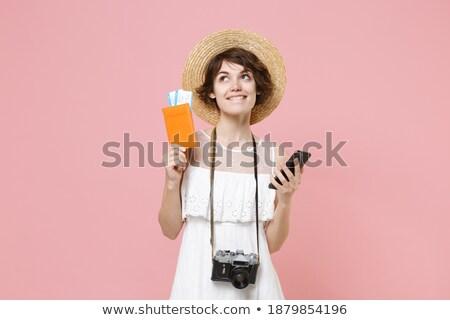 töprengő · nő · bőrönd · könyv · fényes · kép - stock fotó © dolgachov