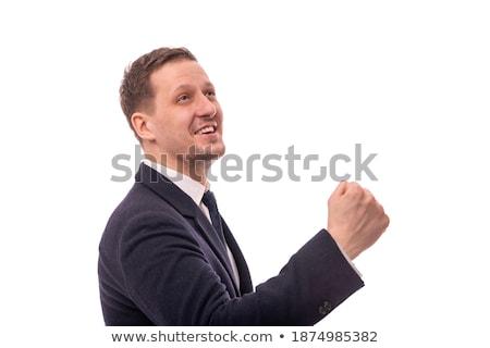 Fiatal üzletember ököl felfelé fehér iroda Stock fotó © wavebreak_media