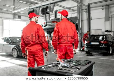 Stock fotó: Mechanic In Red Overall