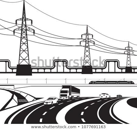 железная · дорога · электроэнергии · изолированный · из · Focus · металл - Сток-фото © abbphoto