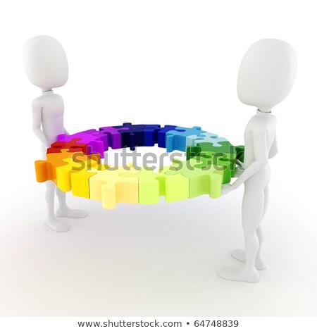 fehér · puzzle · kék · üzlet · földgömb · építkezés - stock fotó © digitalgenetics