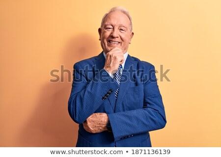 Starszy myślenia biznesmen strony twarz siwe włosy Zdjęcia stock © lunamarina