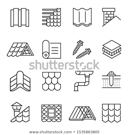 Ikon kémény ajándék tető csomag illusztráció Stock fotó © zzve