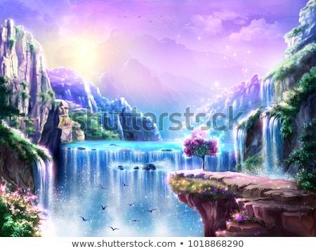 Orientalny wodospad krajobraz objętych wody lasu Zdjęcia stock © gophoto