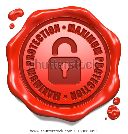 Maximum Protection - Stamp on Red Wax Seal. Stock photo © tashatuvango