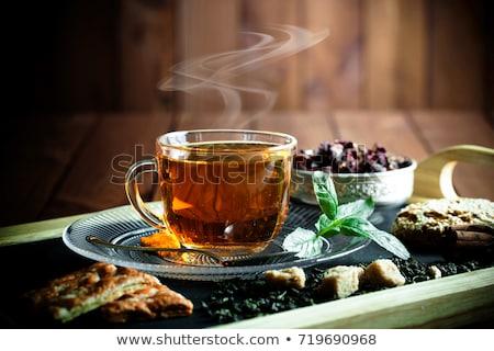 Csésze tea csészealj kanál fehér konyha Stock fotó © IMaster