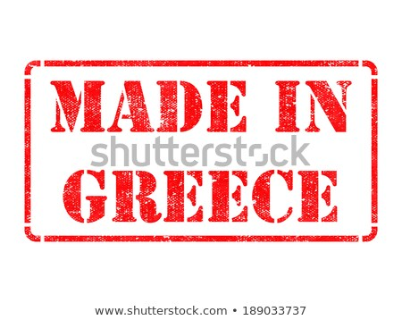 Foto stock: Made In Greece - Inscription On Red Rubber Stamp