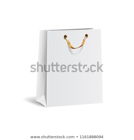 Rood · papier · boodschappentas · geïsoleerd · winkelen · witte - stockfoto © natika