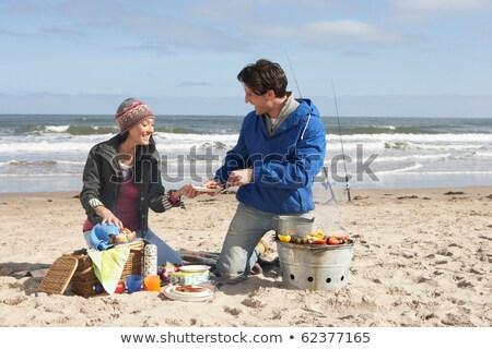 paar · koken · barbecue · gelukkig · achtergrond · plantaardige - stockfoto © monkey_business
