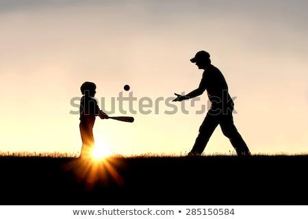 Stock fotó: Baseball · naplemente · sziluett · férfi · jókedv · csapat