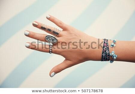 Homme main manucure sur mode beauté Photo stock © eleaner