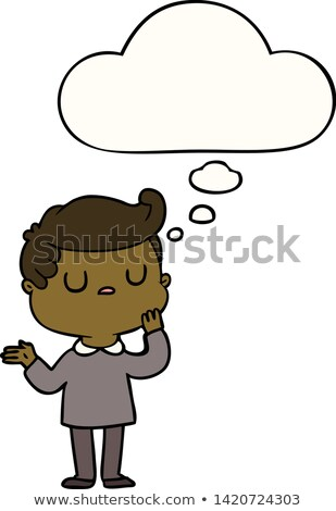 cartoon arrogant boy with thought bubble Stock photo © lineartestpilot