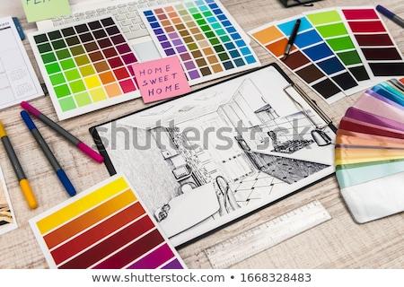 pianificazione · progetto · carpenteria · lavorazione · del · legno · industria · notebook - foto d'archivio © stevanovicigor