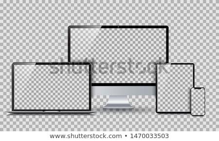 Stock fotó: Szett · modern · eszközök · terv · izometrikus · laptop