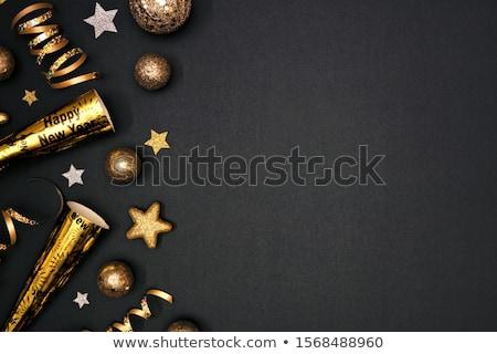Goud zilver frame zwarte kunst star Stockfoto © shawlinmohd