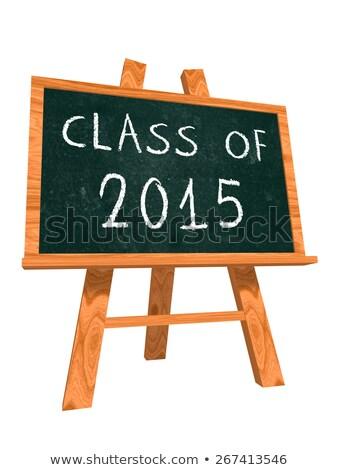 Osztály 2015 festőállvány iskolatábla kréta szöveg Stock fotó © marinini