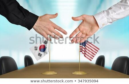 Foto stock: EUA · Corea · del · Sur · mano · manos · mano · reunión