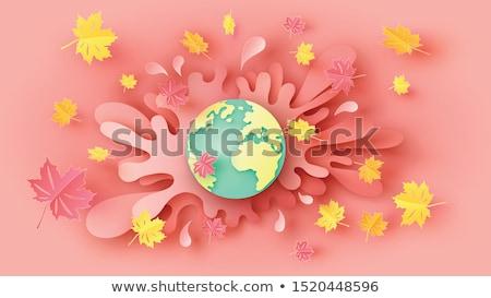 秋 黄色 抽象的な 世界中 サークル デザイン ストックフォト © blaskorizov