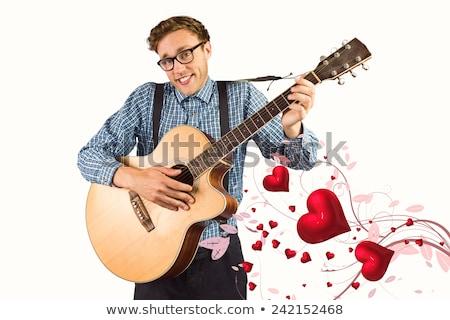 Jugando guitarra gris hombre feliz Foto stock © wavebreak_media