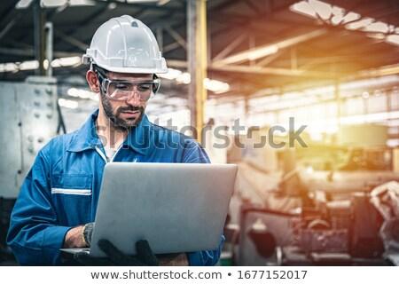 ストックフォト: 肖像 · 技術者 · ノートパソコン · 塔