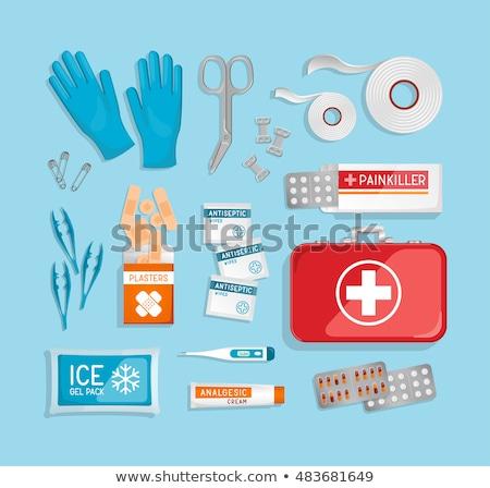 Egészség készlet piros vektor ikon gomb Stock fotó © rizwanali3d