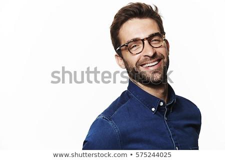 Stockfoto: Mode · toevallig · denim · knappe · man · portret