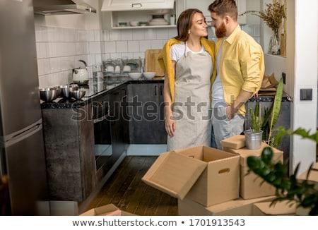 boldog · újonnan · házaspár · otthon · kanapé · férfi - stock fotó © paha_l