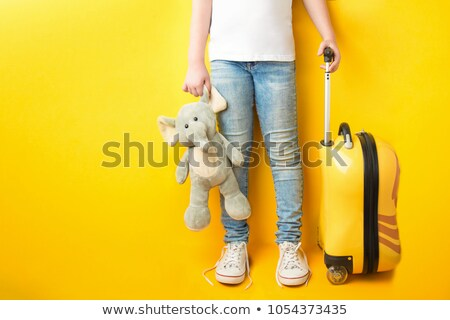 An attractive woman with a yellow suitcase is traveling on the r Stock photo © vlad_star