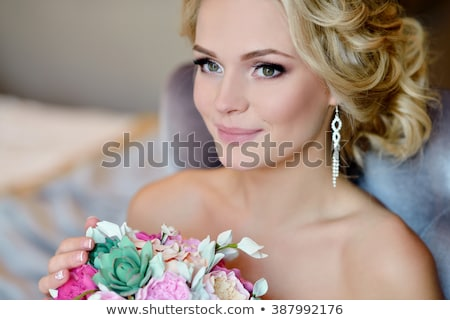 Beautiful blonde model with a veil Stock photo © jrstock